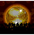 glowing disco ball and crowd vector image vector image