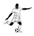 hand drawn sketch of footballer in black isolated vector image vector image