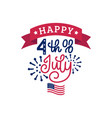 happy fourth of july hand lettering calligraphy vector image vector image