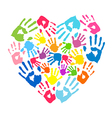 heart handprints parents and kids vector image vector image