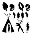 indians silhouette vector image vector image