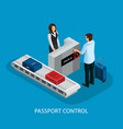 isometric customs control in airport concept vector image vector image