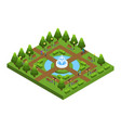 isometric green city park concept vector image vector image