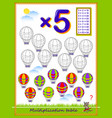 Multiplication table 5 for kids solve examples