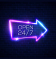open 24 7 hours neon light sign on brick wall vector image