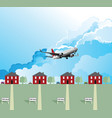 passenger plane over housing vector image vector image