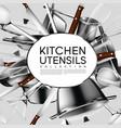 realistic light kitchen utensil poster vector image vector image