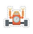 robot clock laungh rocket clock cutting line vector image vector image