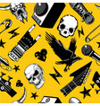 rock and roll seamless pattern music vector image