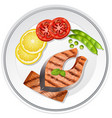 salmon steak and vegetables on the plate vector image vector image