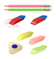 set of erasers of different color and shape two vector image vector image