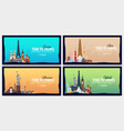 set of world travel banners time to travel vector image