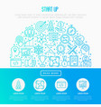 start up concept in half circle vector image vector image