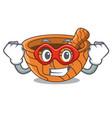 super hero character cartoon wooden mortar and vector image
