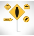 Surfing board road signs set vector image vector image