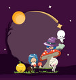 the halloween cute character frame vector image