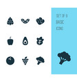 vegetable icons set with coco nutrition salad vector image vector image