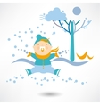 Winter holidays Little girl sculpts snowman vector image