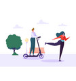 woman character roller skating in city park vector image