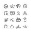 Casino Icon Black Outline Set vector image