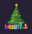 christmas tree with bulbs gifts and xmas balls vector image