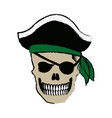 pirate skull wearing a pirate captains hat and an vector image