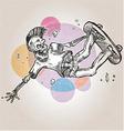 skeleton skater on grunge background vector image