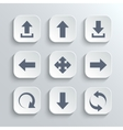 Arrows icon set - white app buttons vector image