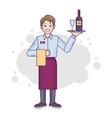 banner flat-line caucasian male restaurant worker vector image vector image