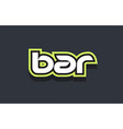 bar word text logo design green blue white vector image vector image