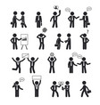 business and communication human stick set vector image