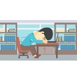 Businessman sleeping on workplace vector image