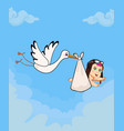 cartoon with stork bringing cute baby girl vector image vector image