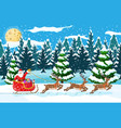christmas landscape santa rides reindeer sleigh vector image vector image