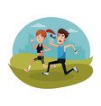couple running sport landscape vector image
