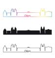 Dijon skyline linear style with rainbow vector image vector image