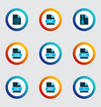document icons colored set with file svg file rar vector image vector image