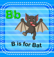 flashcard letter b is for bat vector image vector image