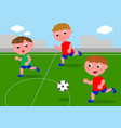 friends playing soccer in football field vector image vector image