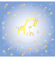 Giraffe and baby giraffe greeting card vector image