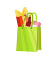 green paper shopping bag with bottle wine and vector image vector image