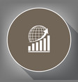 growing graph with earth white icon on vector image vector image