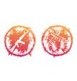 grunge emblems prints with pistols handguns vector image vector image