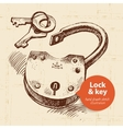 Hand drawn sketch vintage lock and key banner