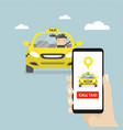 hand holding smartphone and call taxi by phone vector image vector image