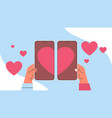 hands putting together parts heart in vector image