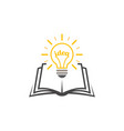 light bulb over book as a symbol knowledge vector image vector image