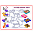 multiplication table with labyrinth for kids vector image vector image