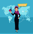 muslim woman with passport speaks about emigration vector image vector image