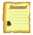 old document with dark brown edges and old stamp vector image vector image